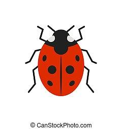 Ladybug ladybird bug single flat color vector icon