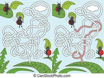 Ladybug maze - Ladybugs jumping with leaf parachutes - maze ...