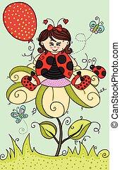 ladybug, menina, flor, ilustração, sentando