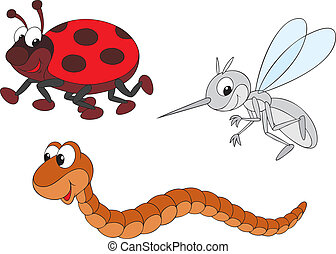 Ladybug, mosquito and worm - Vector clip-arts of funny...