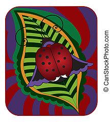 Ladybug  on a green leaf