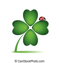 ladybug on cloverleaf on white background vector ...