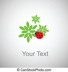 ladybug on green foliage with place for text