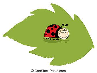 Ladybug On Green Leaf - Mascot Cartoon Character Ladybug On...