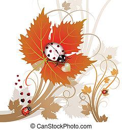 Ladybug on leaf - Vector illustration of a ladybug on leaf