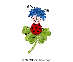 Ladybug On Leaf, Isolated On - Handmade artwork. Acrylic...