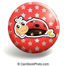 Ladybug on round badge