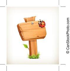 Ladybug on wooden sign
