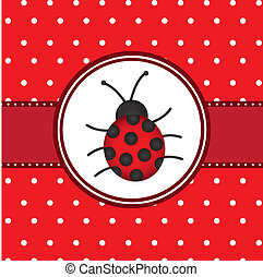 ladybug over red card with dots, background. vector illustration