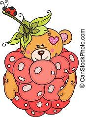 ladybug, pequeno, pelúcia, dentro, urso, framboesa, vermelho