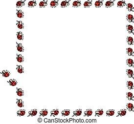 ladybug, quadro, borda, retângulo