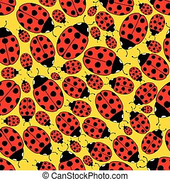 ladybug, repetindo, seamless, padrão