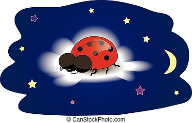 Ladybug sleeping on a cloud