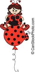 ladybug, vestido, balloon, voando, menina, topo