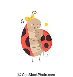 ladybug, voando, dela, cute, insetos, família, ilustração, vetorial, caráteres, mãe, abraçar, criança, caricatura, feliz