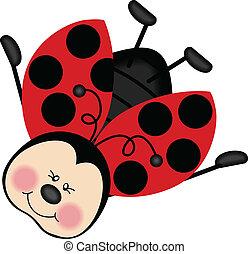 ladybug, voando, feliz