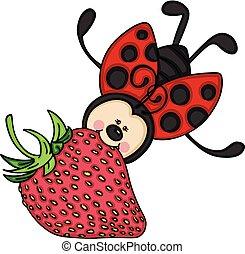 ladybug, voando, moranguinho