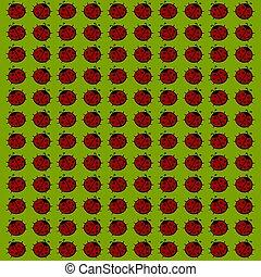 Ladybug wallpaper, illustration, vector on white background.
