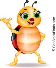ladybug, waving, caricatura, mão, engraçado