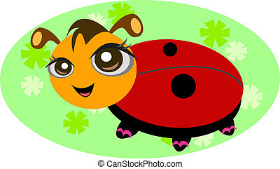 Ladybug with Flower Background
