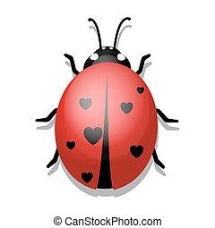 Ladybug with Hearts on White Background.