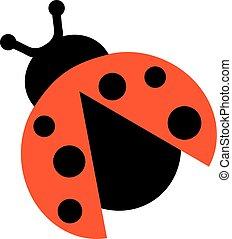 Ladybug with open wings