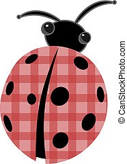 Ladybug with patchwork red shell vector cartoon