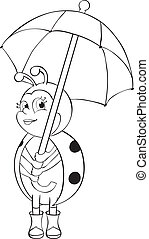 Ladybug with umbrella - contour illustration