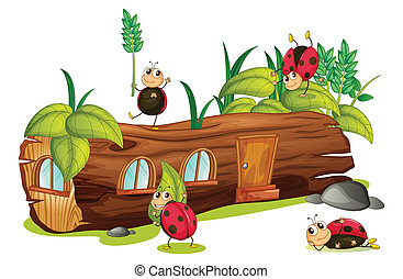 Ladybugs and a house - Illustration of ladybugs and a wood...