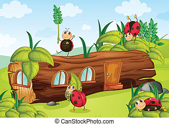 Ladybugs and a wood house - Illustration of ladybugs and a...