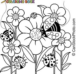 Ladybugs and flowers. Vector black and white coloring page