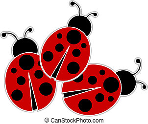 Ladybugs - Classic red and black Ladybugs outlined and...