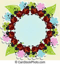 ladybugs, flores, cartão