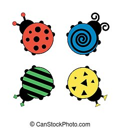 Ladybugs for kids. Colorful illustration isolated on white. Vector