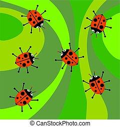 ladybugs, funky, retro
