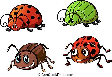 Ladybugs, glowworm, colorado beetle cartoon characters
