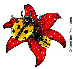 ladybugs in the garden red vector illustration