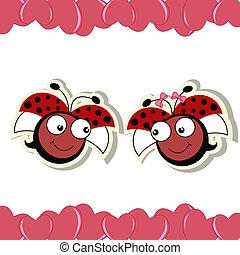 ladybugs, liefde, twee harten