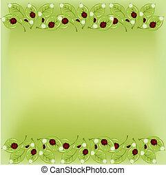 Ladybugs on leaflets with camomiles