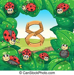 Ladybugs on leaves with number 8