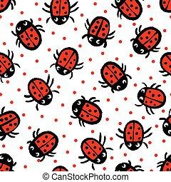 Ladybugs on white background.