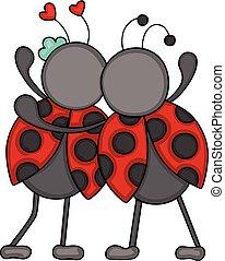 ladybugs, par, costas, huggeding