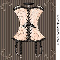 lady's beige corset - on a vintage background is a big beige...
