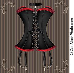 lady's black corset