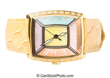 Lady's elegant wristwatch isolated on white