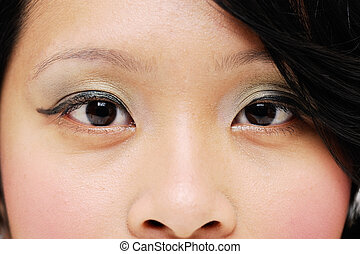 Asian womans eyes closeup looking forward