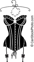 Lady's sexy black vintage corset