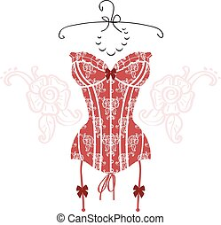 Lady's sexy red vintage corset
