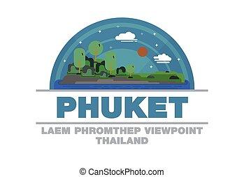 Laem Phromthep Viewpoint of Phuket,Thailand Logo symbol flat design