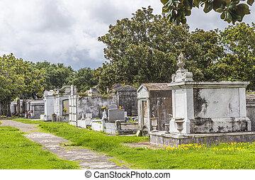 lafayette, cemitério, em, nova orleães, com, histórico,...